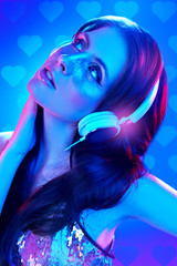 Printed roller blinds Beauty model listening to music