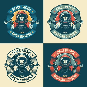Astronaut in spacesuit with blaster - retro badge. Space army vintage emblem. Vector illustration.