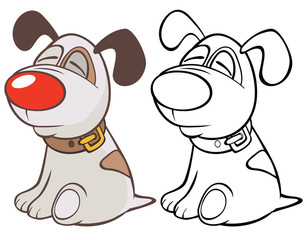 Foto op Plexiglas Babykamer Vector Illustration of a Cute Cartoon Character Hunting Dog for you Design and Computer Game. Coloring Book Outline