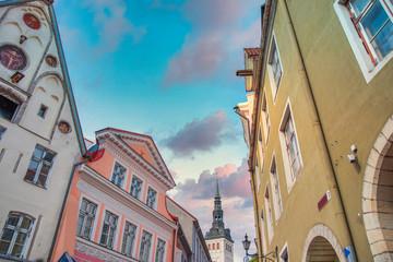 ancient streets of the European city of Tallinn.