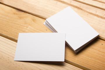 Business card blank on wooden background. Corporate Stationery, Branding Mock-up. Creative designer...