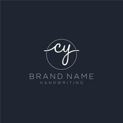 Obraz CY Initial handwriting logo vector - fototapety do salonu