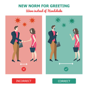 New normal for greeting in COVID-19 outbreak. Alternative safely greetings to avoid physical contact and practice social distancing. Safe and hygienic greeting to prevent virus transmission