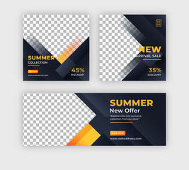 Summer sale banner social media post with facebook cover template