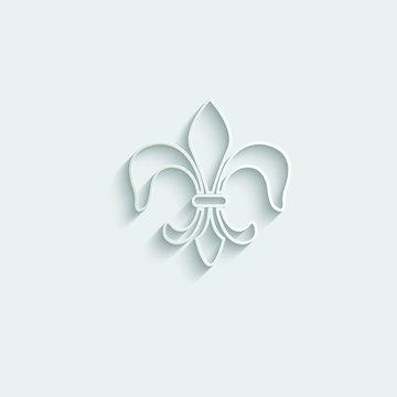 paper Fleur-de-lis icon vector Heraldic lily line style