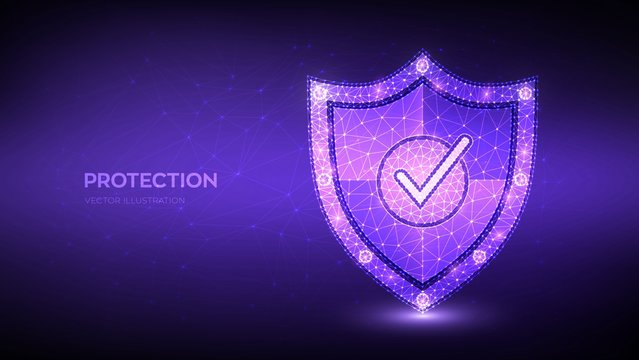 Check mark on security shield. Protection or Safe business concept. Cyber security and network safety. Illustrates cyber data security or information privacy idea. Low polygonal vector illustration.