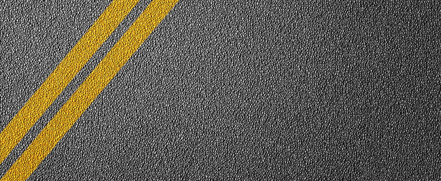 3D Illustration of a road divide with yellow lines pattern and background, textured traffic rules concept.