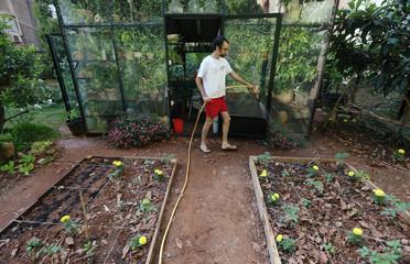 Lebanese filmmaker, Michel Zarazir, waters plants in his garden at home in Jal El Dib