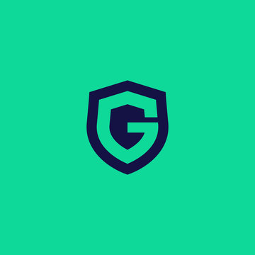 bold letter g in the shield . G shield logo vector illustration eps10