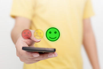 Poster Pays d Asie Customer Service Experience and Business Satisfaction Survey. Man choose face smile on smart phone