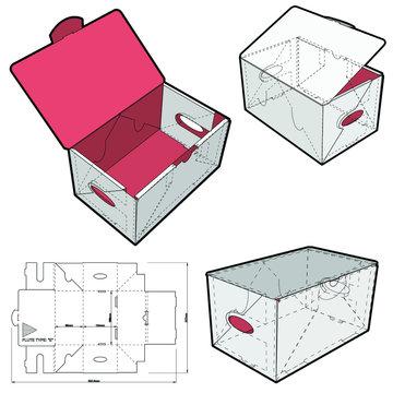 Fruit Shipping Box , Fruit Shopping Box (Internal measurement 16.5 x 10.4+ 8.6 cm) and Die-cut Pattern