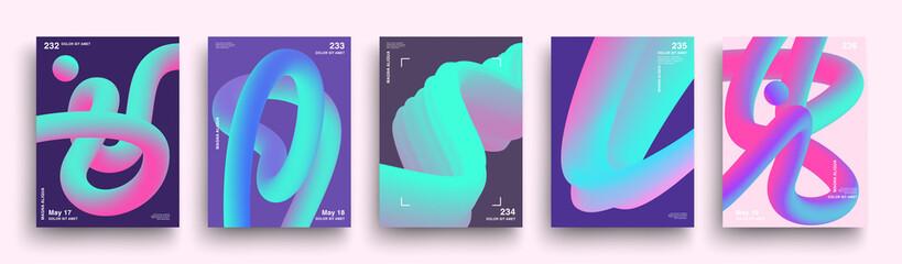 Fototapeta Set of Minimal Neon Gradient Blend Banner. Motion Fluid Wave Line Posters. Simple Futuristic Covers Template Design. Luminous Geometric Shapes Backgrounds. Social Media Templates. Vector EPS 10 obraz