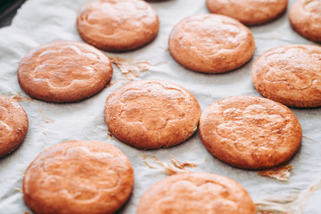 Making of delicious round shortcrust cookies for breakfast