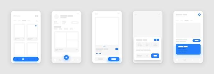 Obraz UI Kit elements for mobile app concept. Use for social media, online store, hotel reservation. Wireframes screens. Flowchart. - fototapety do salonu