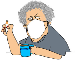 Old woman wearing a face mask