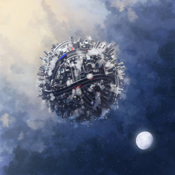 Contecp for planet earth pollution, world covered by big city and roads with clouds and smog floating in space showing the contamination and chaos made by metropolis and civilisation, 3d illustration