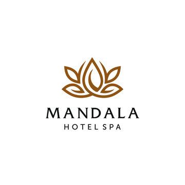 Abstract mandala lotus flower swirl logo icon vector design. Elegant premium ornament vector logotype symbol.