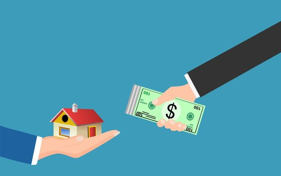 real estate cash transaction, hands with money and house vector.