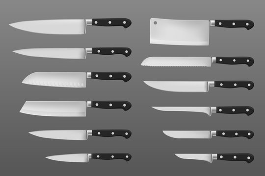 Kitchen knives set, meat chef cutting hatchet cooking cutlery types, realistic kitchenware. Cleaver, french, boning and filleting, carving isolated vector knife of stainless steel with black handle