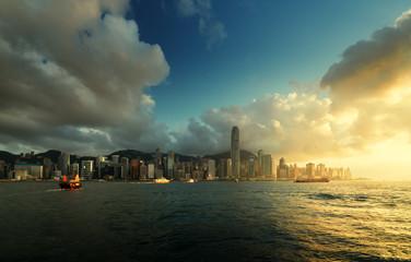 Fototapete - Hong Kong harbour in sunset time