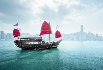 Fototapete - morning Hong Kong harbour, China
