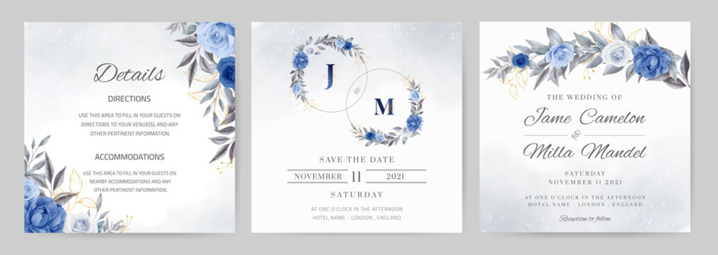 Navy blue wedding invitation set. Rose flower watercolor with gold leaves. Template card. Circle bouquet.