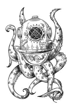 Octopus in a old diving helmet. Hand drawn vector illustration.
