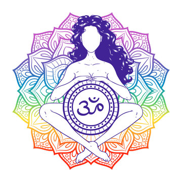 Relaxed meditating yogi woman on sacred lotus background. Vector illustration