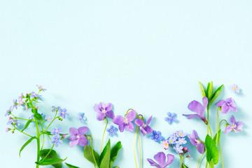 Wall Mural - Tender blue floral summer background