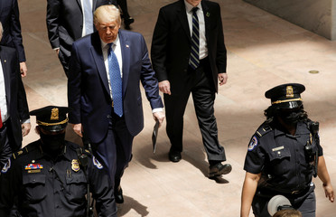 U.S. President Trump meets with Republican senators to discuss coronavirus response in Washington