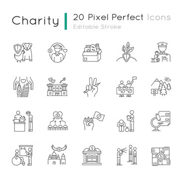 Charity pixel perfect linear icons set. Food donation. Financial aid. Volunteering for public work. Customizable thin line contour symbols. Isolated vector outline illustrations. Editable stroke