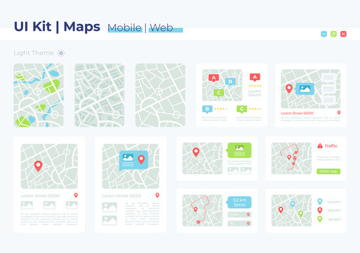 Map UI elements kit. Geography position and address. GPS location isolated vector icon, bar and dashboard template. Web design widget collection for mobile application with light theme interface