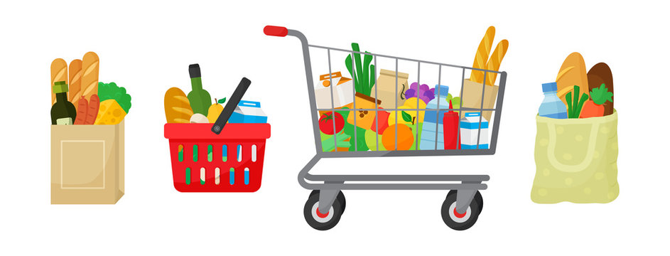 Grocery purchase set. Paper package, shopping basket and trolley, textile bag with products. Foods and drinks, vegetables and fruits. Vector illustration