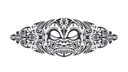 Polynesian style Tattoo design. Polynesian style mask. Isolated round tattoo vector.