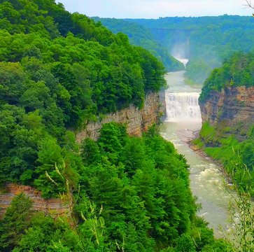 Waterfall In Letchworth State Park Against Sky