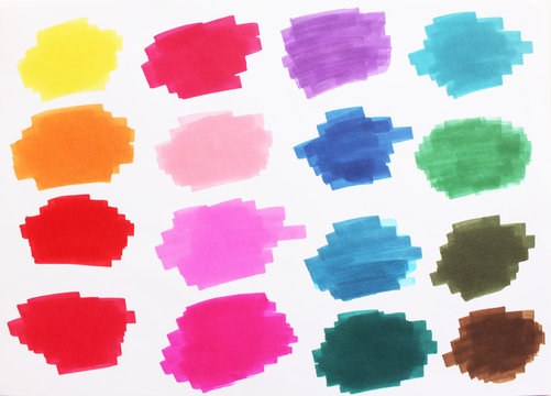 Marker palette colors collection. Doodle hand drawn multicolor set. Simple felt-tip spots and blots. Raster illustration