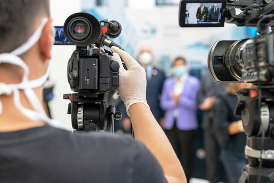 Press or news conference during coronavirus COVID-19 pandemic