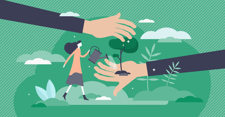 Save planet vector illustration. Tree planting flat tiny persons concept.