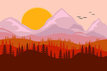 Garden Poster Brown landscape, mountains with coniferous trees, the sun and birds in the sky