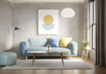 3d render of a room with a light blue sofa an art canvas and blue and yellow cushions