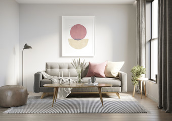 3d render of a grungy concrete room with a grey sofa an art canvas and dusky pink and yellow cushions