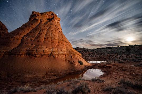 Red Sandstone Rock Formation in Remote Arizona Desert Under a St