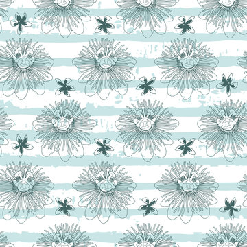 Vector green mint passion flower with grunge stripes background seamless repeat pattern. Suitable for fabric, wallpaper and gift wrap.