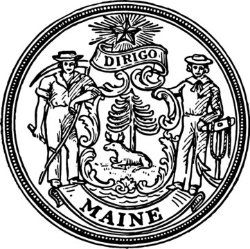 Old Vintage Drawing of USA state Maine Seal