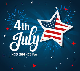 4 of july happy independence day with stars and flag usa vector illustration design