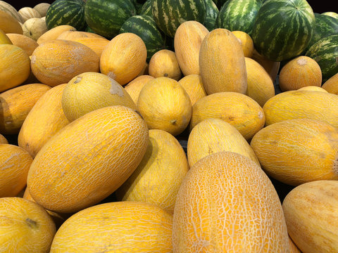 closeup of melons, food and retail concept