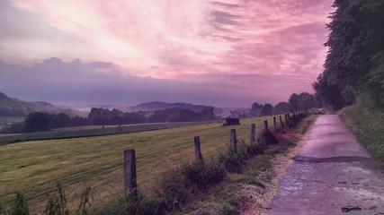 Foto auf Gartenposter Aubergine lila Scenic View Of Landscape Against Sky