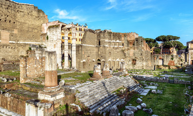 Fototapete - Forum of Augustus in summer, Rome, Italy, it is historic tourist attraction of Rome. Urban landscape with ancient ruins in old Rome city