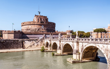 Fototapete - Castel Sant'Angelo or Castle of Holy Angel, Rome, Italy. It is old landmark of city. View of famous Castel Sant`Angelo and medieval bridge