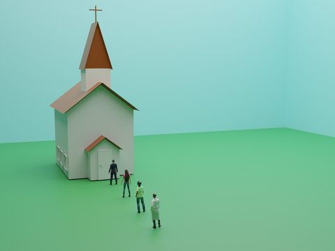 3D rendering, People queue to enter the church spaced out , New normal is social distancing and wearing mask after COVID-19 pandemic concept, 3D illustration